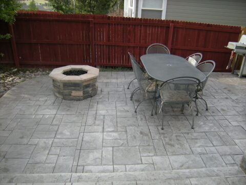 Octagon stone firepit with table