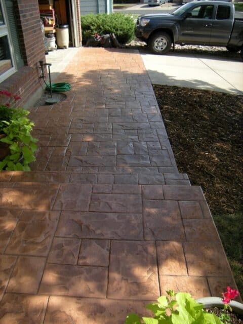 Concrete stone walkway brown