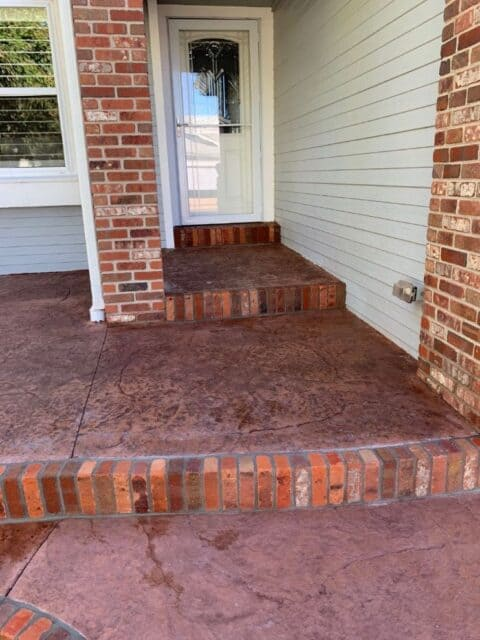 Front entry steps with brick borders 2