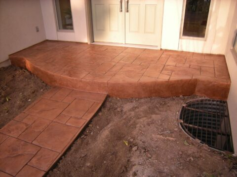 entrance way and pathway brownish concrete