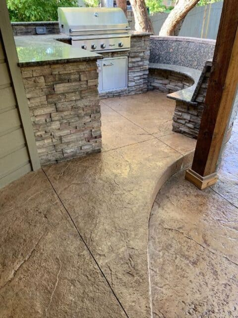 Outdoor stone kitchen with bbq