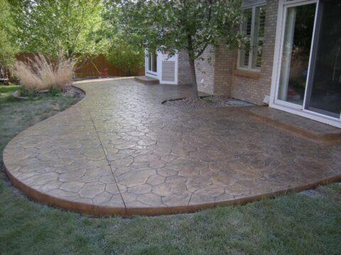 Concrete patio in walking stone pattern 2