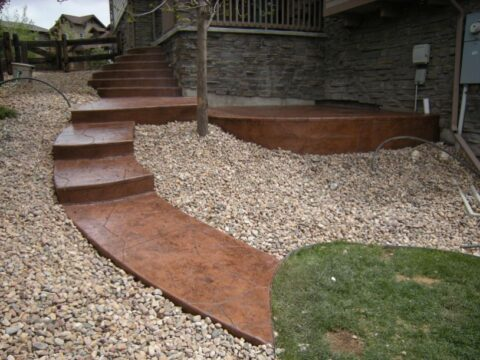 Brown concrete stairs with platform