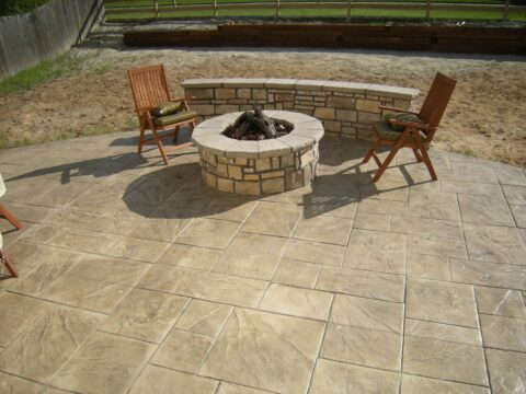 Concrete firepit with two chairs