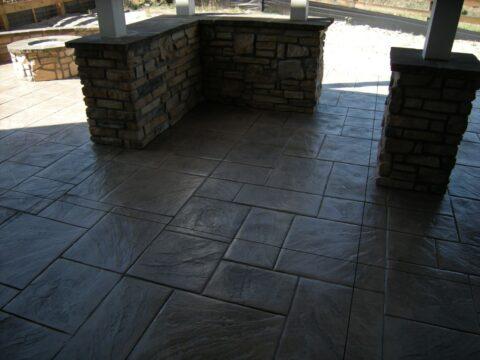 Concrete walls and patio