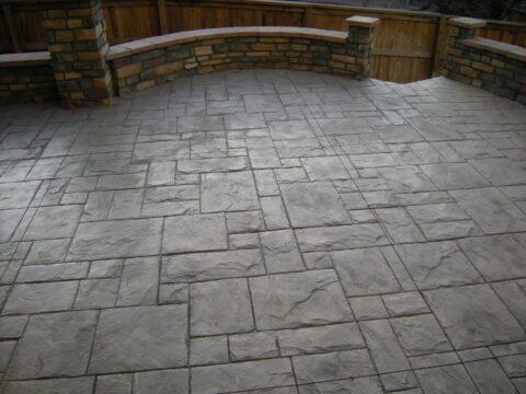 Concrete patio with walls